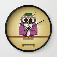 dumbledore Wall Clocks featuring Owlbus Dumbledore by Famous Owls