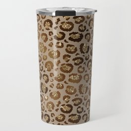 Brown Glitter Leopard Print Pattern Travel Mug