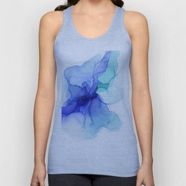 Blue Floral Abstract Ink Unisex Tank Top