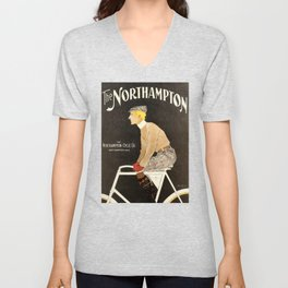 The Northampton Bicycle co. by Edward Penfield Unisex V-Neck