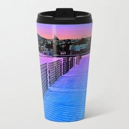 Fences on a winter sundown Travel Mug