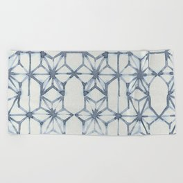 Simply Shibori Stars in Indigo Blue on Lunar Gray Beach Towel