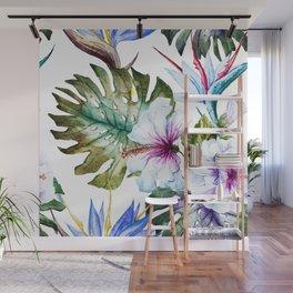 Watercolor Tropical Hibiscus Wall Mural
