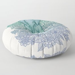 Emerald Elephant in the Lilac Evening Floor Pillow