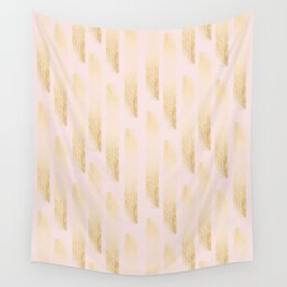 Gold strokes on a pink background. Wall Tapestry