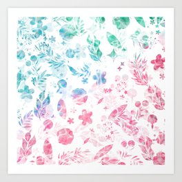Abstract Pink Teal Green Watercolor Floral Ombre Art Print