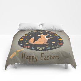 Festive Easter Egg with Cute Character of Fox Comforters