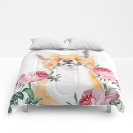 Happy Fox And Pink Roses Comforters