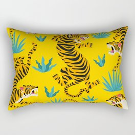 Yellow Tiger Tropical Pattern Rectangular Pillow
