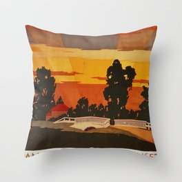 Skokie Valley Route Vintage Travel Poster Throw Pillow