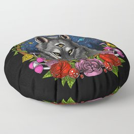 Psychedelic Wolf Trippy Moon Phases Floor Pillow