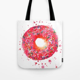 Pink donut with sprinkles watercolor Tote Bag