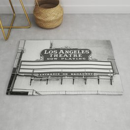 Los Angeles Theatre, Downtown Los Angeles Black and White Photography Rug
