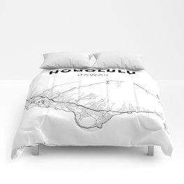 HONOLULU MAP PRINT Comforters