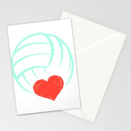 Womens Love Volleyball Gift Print Volleyball Team Print Stationery Cards