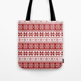 Red Winter Fair Isle Pattern Tote Bag