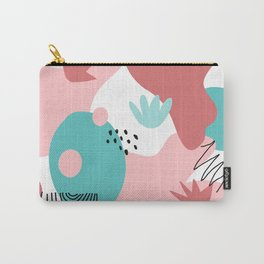 Teal and Pink Geometry Carry-All Pouch