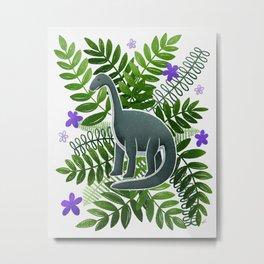 Dinosaur & Leaves - Green and Purple Metal Print