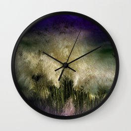 Pampas grass on textured background -2- Wall Clock