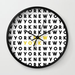 New York // New York Typography Wall Clock