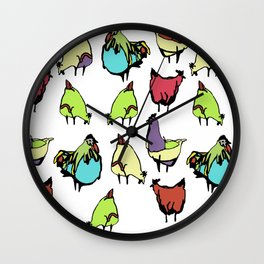 Hens on white Wall Clock