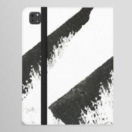 Sassy: a minimal abstract mixed-media piece in black, white, and gold by Alyssa Hamilton Art iPad Folio Case