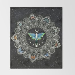 Lunar Moth Mandala with Background Throw Blanket