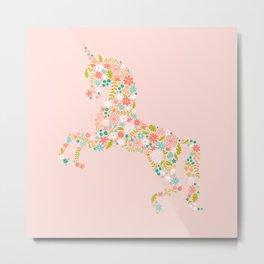 Floral Unicorn in Pink Metal Print