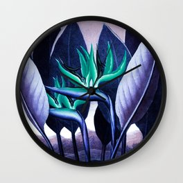 Birds of Paradise Temple of Flora Blue Mint Wall Clock