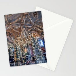 Sedlec Ossuary Interior Photo Art, Skull Bone Church Stationery Cards