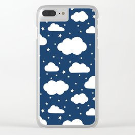 Night Sky, Fluffy White Clouds and Stars on navy - pattern Clear iPhone Case