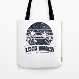 Long Beach CA Sunset Beach Vacation Paradise Island Retro Black Tote Bag