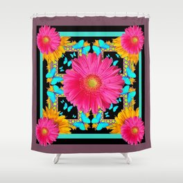 Western Black & Puce Pink Flower Blue Butterfly Yellow Floral Art Shower Curtain