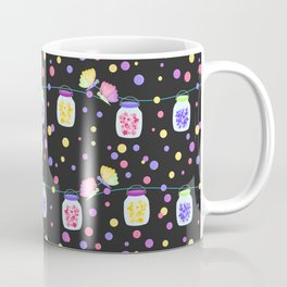Fairy Stars and Hearts Mason Jars Black Background Coffee Mug