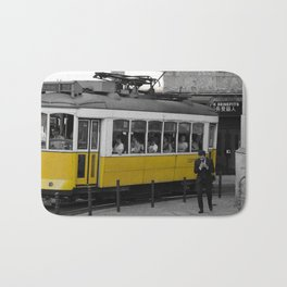 Tram Smoking in Lisbon Bath Mat