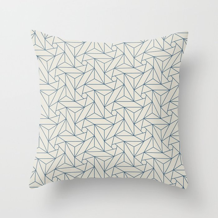Blue & Linen White Abstract Triangle Geometric Mosaic Shape Pattern Pairs To 2020 Color of the Year Throw Pillow