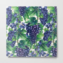Watrercolor grapes Metal Print
