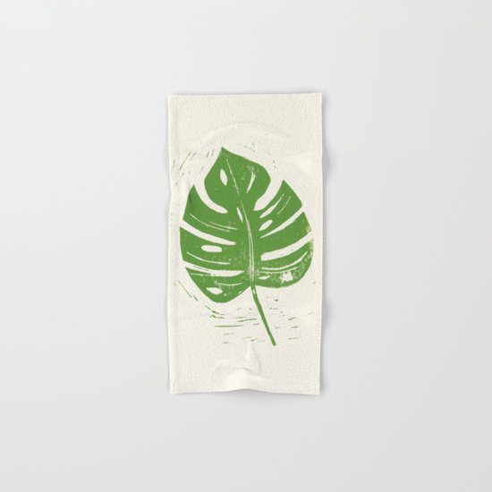 Linocut Leaf Hand & Bath Towel