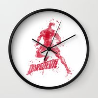 daredevil Wall Clocks featuring Daredevil Superhero by Carma Zoe