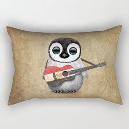 Baby Penguin Playing Egyptian Flag Acoustic Guitar Rectangular Pillow