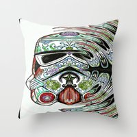 psychadelic Throw Pillows featuring Psychadelic Storm Trooper by Just Bailey Designs