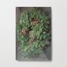 Christmas Wreath on Door Metal Print