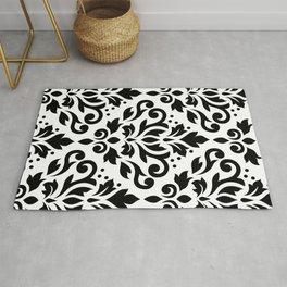 Scroll Damask Large Pattern Black on White Rug