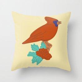Red Cardianl Art Print Throw Pillow
