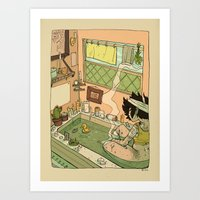 bath Art Prints featuring Bath by oculus-feline