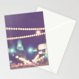 Downtown Los Angeles at night photograph. Sparkle No. 2 Stationery Cards