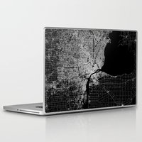 detroit Laptop & iPad Skins featuring Detroit map  by Line Line Lines
