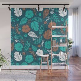 Teal & Brown Tropical Foliage Pattern Wall Mural