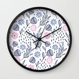 Romantic floral pattern, pink and blue flowers on white Wall Clock