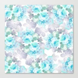 Modern teal gray chic romantic roses flowers Canvas Print